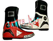 DUCATI RED WHITE MOTORBIKE RIDING MOTORCYCLE RACING MOTOGP LEATHER BOOTS