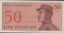 Indonesia 50 sen  1964 Prefix CMQ low serial # 000082 Uncirculated  Banknote
