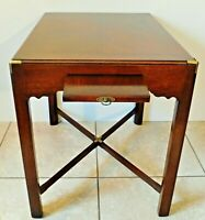 Henredon Scene One Campaign Style Brass & Wood Side/End Accent Writing Table