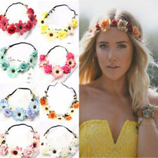 Women Rose Hairband Girl Bohemian  Sun Flower Headwear Bride Crown Headband HQ