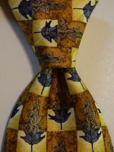 ERMENEGILDO ZEGNA Men's Silk Necktie ITALY Luxury FLORAL Yellow/Orange/Blue EUC