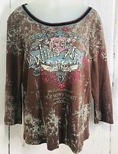 Wild West Rodeo Vanilla Sugar Long Sleeve Brn Red Blu Pink Roses Top Size M 703E