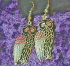 Vintage 1980's Cloisonne Enamel Owl Goldtone Dangle Earrings (1 pair)