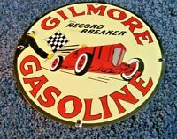 VINTAGE GILMORE GASOLINE PORCELAIN GAS RECORD BREAKER SERVICE RACING PUMP SIGN