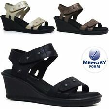 Ladies Memory Foam Mid Wedge Sandals Summer Beach Fashion Strappy Gladiator Shoe