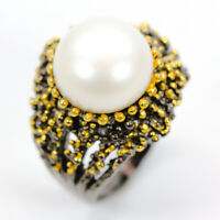 Natural Pearl 925 Sterling Silver Ring Size 7/RS18-0086