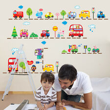 Lovely Animals Bus Cars Removable Wall Sticker PVC Decals Kids Room Decor DIY