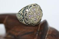 Sterling Silver Gemstone Genuine Amethyst Maltese Cross Templar Knight Ring Sz 8