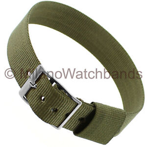 16mm Milano Olive Green Nylon Silver Tone Buckle Sports Strap Wrap Watch Band