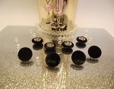 Set 8 Velvet Fabric Covered Buttons Black Metal silver size 15mm.