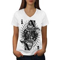 Wellcoda Poker Queen Skull Womens V-Neck T-shirt,  Graphic Design Tee