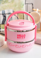 Hello Kitty 2 Tier Stack Bento Lunch Box Stainless Steel Food Container for Kids