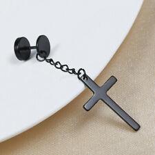 Mens Black Silver Religious Cross Dangle Ear Plugs Titanium Steel Long Earring