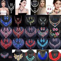 Fashion Crystal Bib Choker Chunk Pendant Statement Necklace Party Women Jewelry