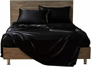 MR&HM Satin Bed Sheets, Queen Size Sheets Set, 4 Pcs Silky Bedding Set with 15 I