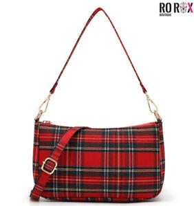 Ro Rox Sheena Tartan Check Punk 90's Baguette Bag Purse Clutch Crossbody Handbag