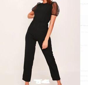 NEW! SALE! Black mesh puff shoulder jumpsuit Size M