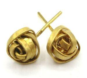 18K Yellow Gold Knot Post Earrings, 3 Grams