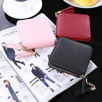Women Leather Small Mini Wallet Card Holder Zip Coin Purse Clutch Handbag