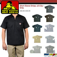 ef0c9321f50 Ben Davis Mens Short Sleeve 1 2 Zip Shirts Pocket Stripe Solid Twill Half  Zipper