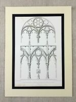 1857 Antique Print Architectural Basilica of Santa Croce Florence Italy