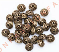 Hot 100pcs Bronze Rondelle Antique Alloy Bicone Spacer Beads 6mm Jewelry Making