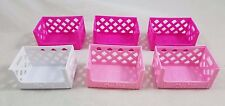 LOT of 6 Shopkins Empty Storage Milk Crates Party Favors Pink White