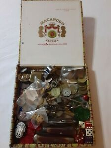 Collector Lot Estate Full Cigar Box Dice Tokens Knife Jewelry GF 925 Junk Drawer