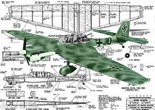 "MODEL AIRPLANE PLANS CONTROL LINE 1/2A 371/2"" STUKA STUNTER  Plan & Article"