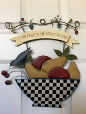 Spirit Folk Tin Wall Hanging THE FRUIT OF THE SPIRT IS LOVE By Carol Endres
