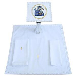 Altar Linen Set, Pall Corporal Purificator Lavabo 100% cotton, Immaculada