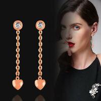 Charm Round Crystal Gold Heart Dangle Drop Earrings For Women 18K Rose Gold