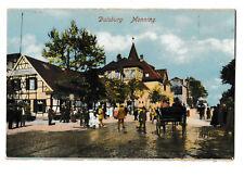 schöne alte colorierte AK 1922@DUISBURG Monning@Strassenpartie-Menschen-Droschke