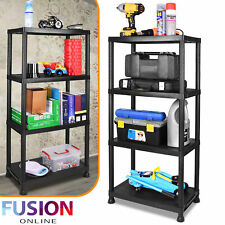 Storage Shelves Plastic Garage Kitchen Shed Bathroom Rack Home Organiser Display
