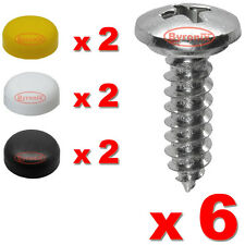 NUMBER PLATE SELF TAPPING SCREWS AND CAPS FITTING FIXING KIT CAR X 6 - QUALITY