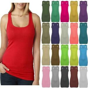 New Womens Ladies Long Bodycon Racer Back Muscle Vest Gym Workout Tank Tops
