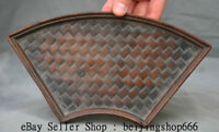 """8.8"""" Old Chinese Huanghuali Wood Hand Carved Dynasty Bamboo Weaving Plate Tray"""