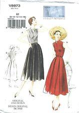 VINTAGE VOGUE 8973 SEWING PATTERN 1950 DESIGN PLEATED DRESS SZ B5 8-16 NEW UNCUT