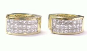 18Kt Princess Cut Invisible Diamond Yellow Gold Earrings 2.66CT