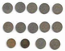 Lot 14 Malaysia 2X$1 coins & 50 Cents Coins with Security Edge - 6X1967 & 6X1968