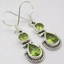 925 Sterling Silver FACETTED PERIDOT 2 STONE NICE TRIBAL Dangle Earrings 3.3 CM