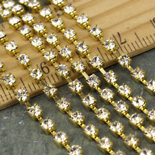 2.8mm Clear Rhinestone Chain Solid Brass Chain FREE Connector c24 (2ft)