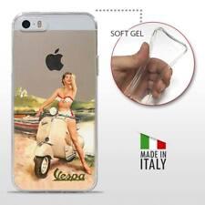 iPhone 5 5S SE TPU CASE COVER PROTETTIVA TRASPARENTE VINTAGE Vespa Pinup