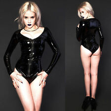 Gothic Wet Look Black PVC Shiny Leather Catwoman Catsuit Fetish Overall Bodysuit