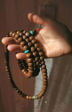 Antique Tibetan Mala - with Buddha Eye, nepal Boddhiseed w turquoise stone