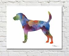 """English Foxhound Abstract Watercolor 11"""" x 14"""" Art Print by Artist Dj Rogers"""