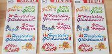 3 Bögen ( Alles Gute - Herzlichen Glückwunsch )  Sticker Aufkleber
