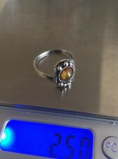 Vintage Sterling Silver Baltic Amber Ladies Ring Size S US Size 9 Lovely