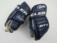 "Vintage Navy Blue Leather Hespeler RTX Classic Hockey Player Gloves 14"""