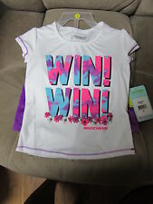 Toddler Girls Shorts Set Size 3T Skechers Active Win! Win! White Purple NWT
